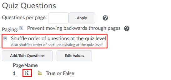 Shuffle Order of Questions at the Quiz Level checkbox with
