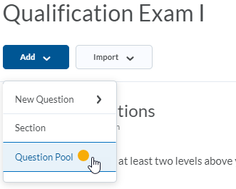 Add button, Question Pool mouse click