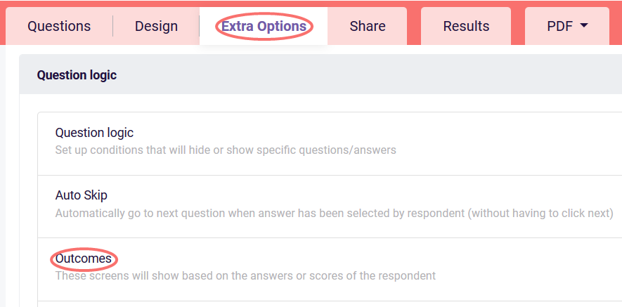 Outcomes - extra options tab