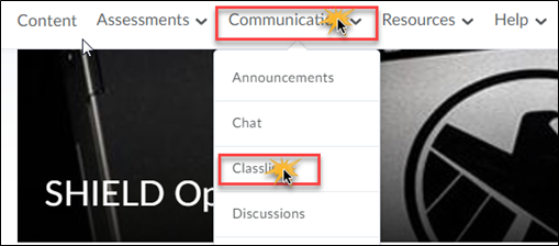 Communication menu expanded with Classlist selected