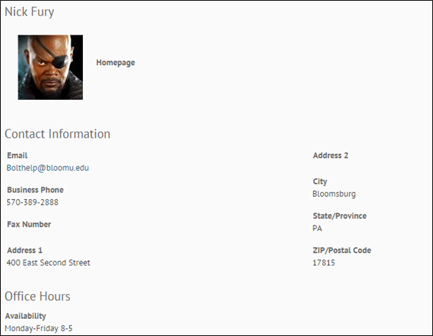 Instructor Nick Fury's profile displaying contact informatoin and office hours