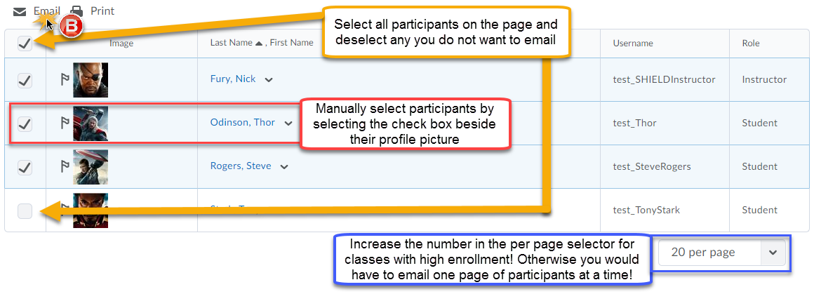 Classlist displaying list of users and checkboxes next to each user are selected/deslected to include/not include in the email and the number of uesrs to dispay per page is highlighted.