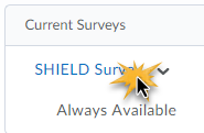List of current surverys with SHIELD Survey selected