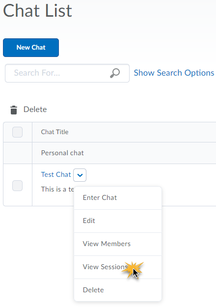Chat action menu displaying options to Enter Chat, Edit, View Members, View Sessions, and delete.  View Sessions is selected.