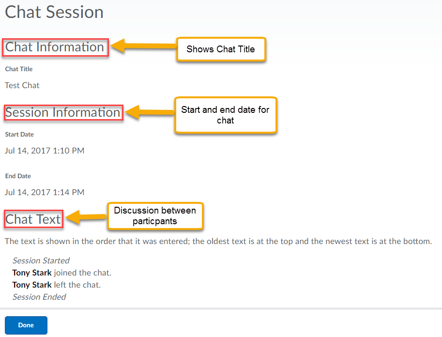 Chat session details displaying the chat title, session information, and chat text between participants.
