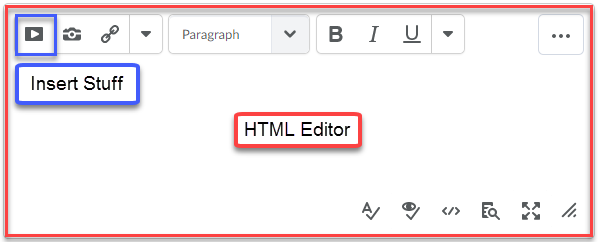 HTML editor with the insert stuff button highlighted