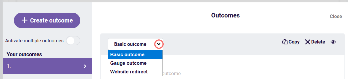 Outcome - choose outcome type