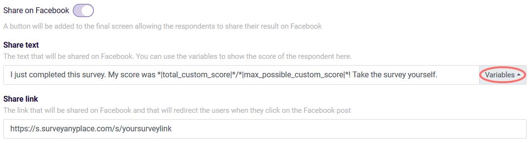 Outcomes facebook share