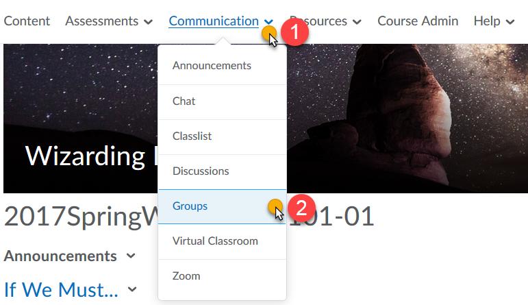Communication Menu, Groups