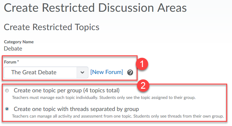 Select Forum, Select Old/New method
