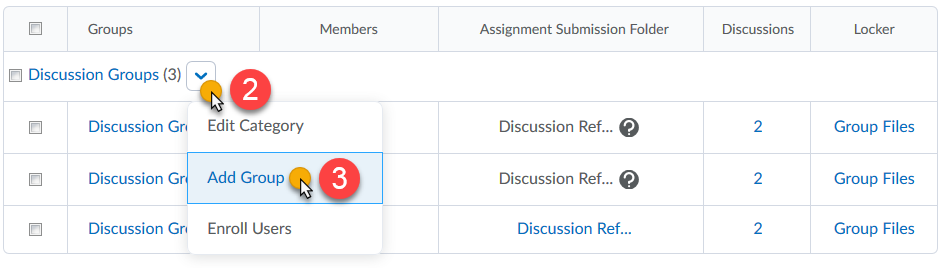 Category Dropdown, Add Group