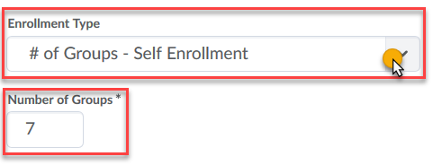 Choose enrollment type and number
