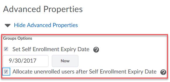 Set advanced properties