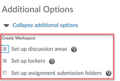 Set additional options.