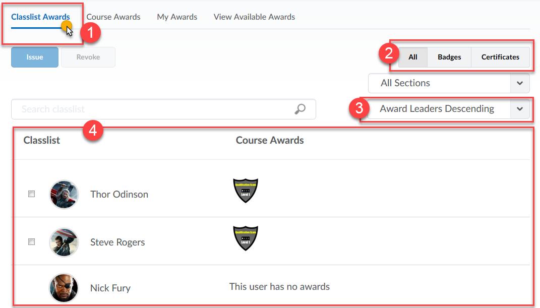 Awards Screen
