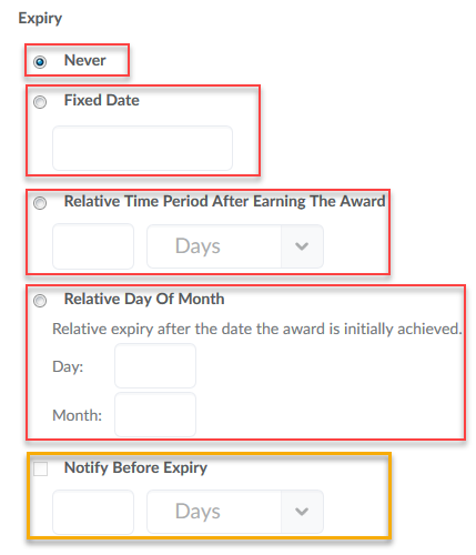 select Expiry Options