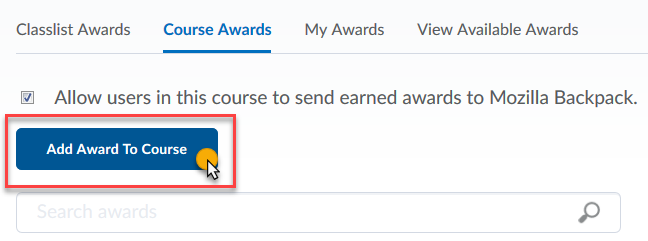 Click Add Award to Course