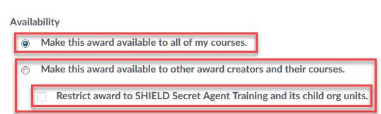 Select Availability Settings