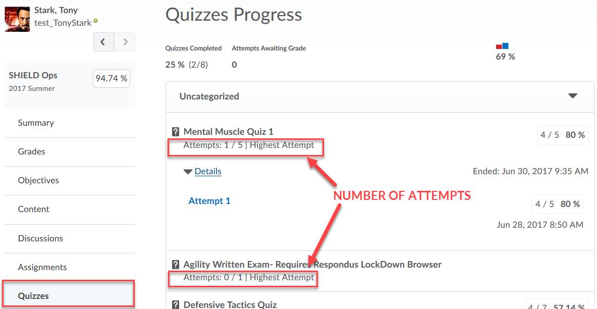 Quizzes Progress