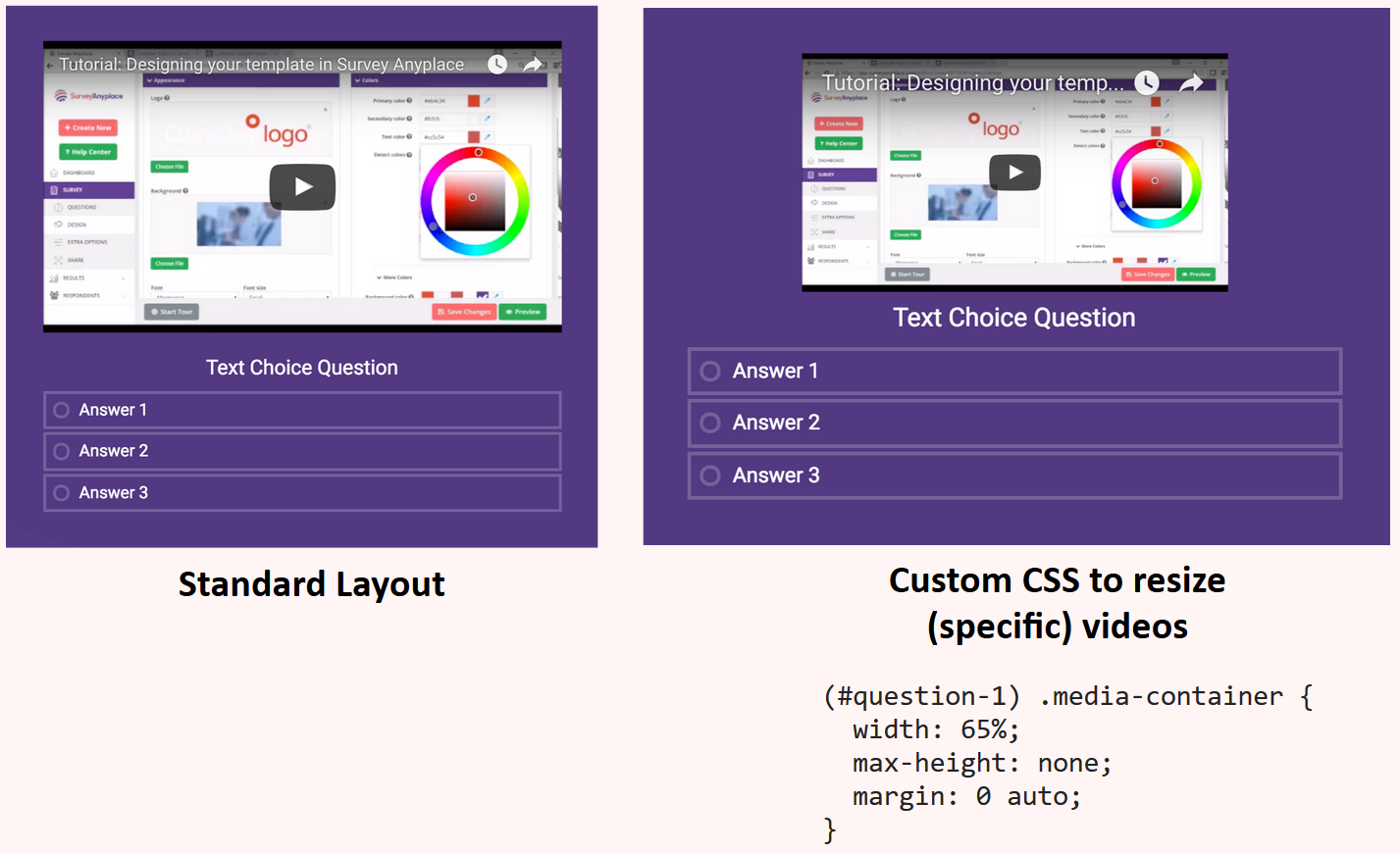 Custom CSS resize videos
