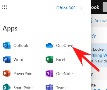 Arrow pointing to OneDrive icon