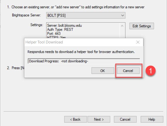 Helper Tool Download dialog window