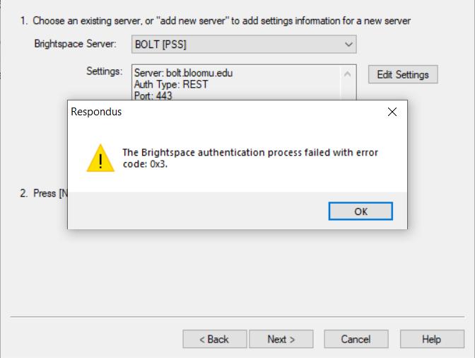 Brightspace authentication error message
