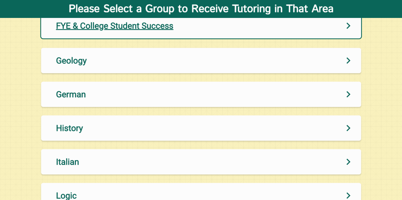 Picture of the NetTutor Group Selection page
