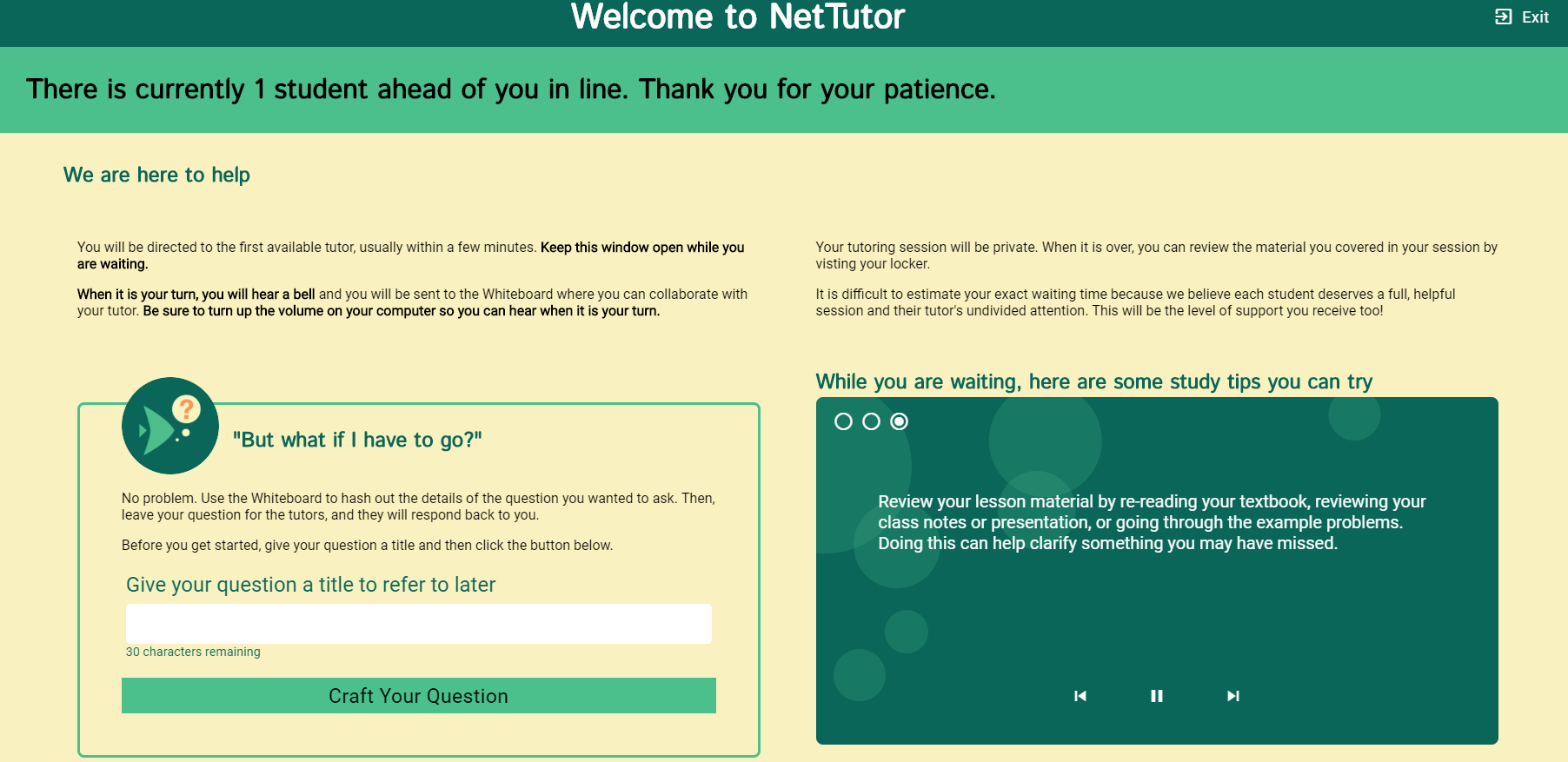 Picture of the NetTutor: Meet with a Live Tutor waiting page