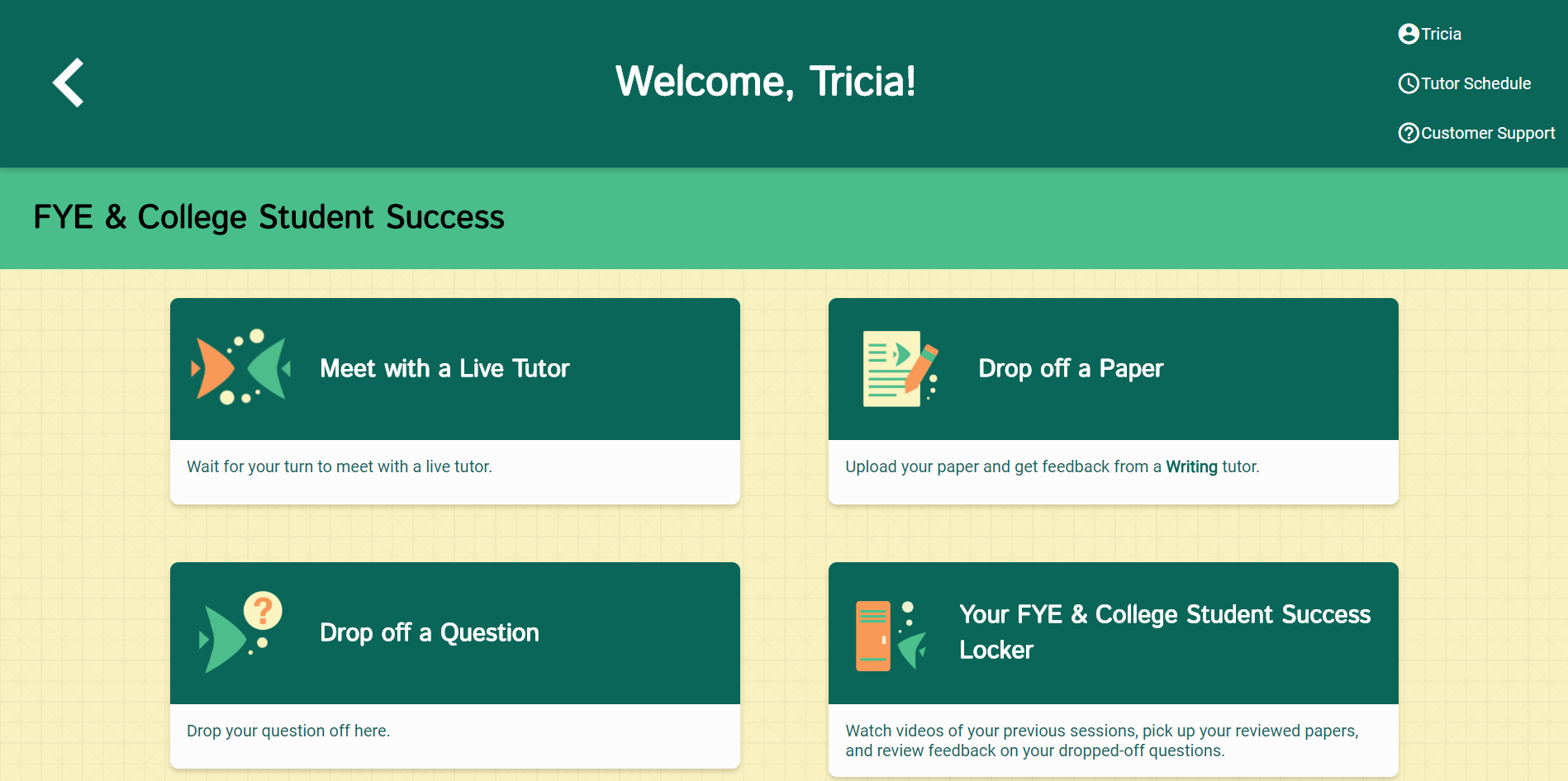 Picture of the NetTutor: Student Dashboard