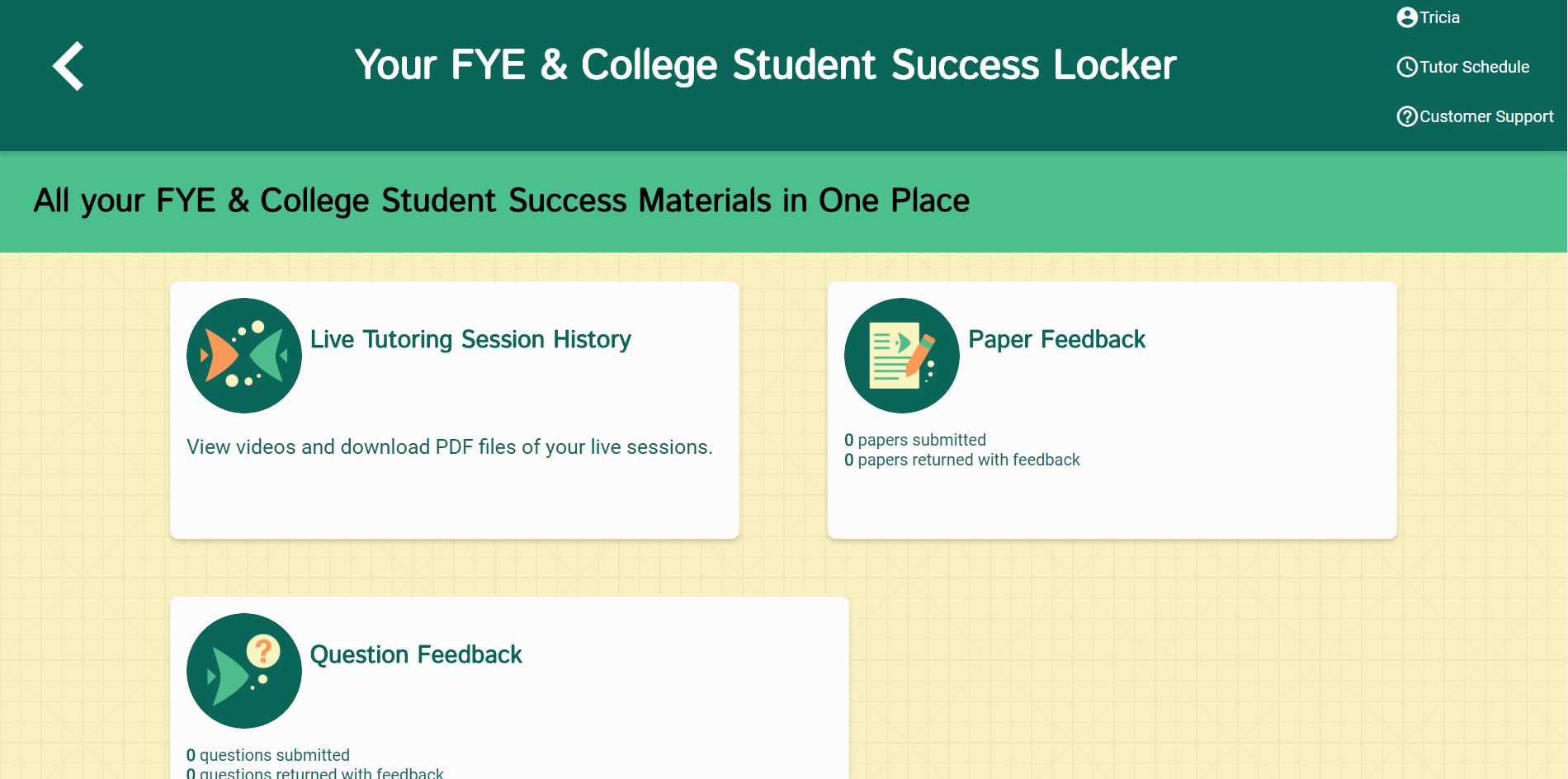 Picture of the NetTutor: Student Locker  Where you can find archives for Live sessions, your paper feedback, and dropped off question feedback.