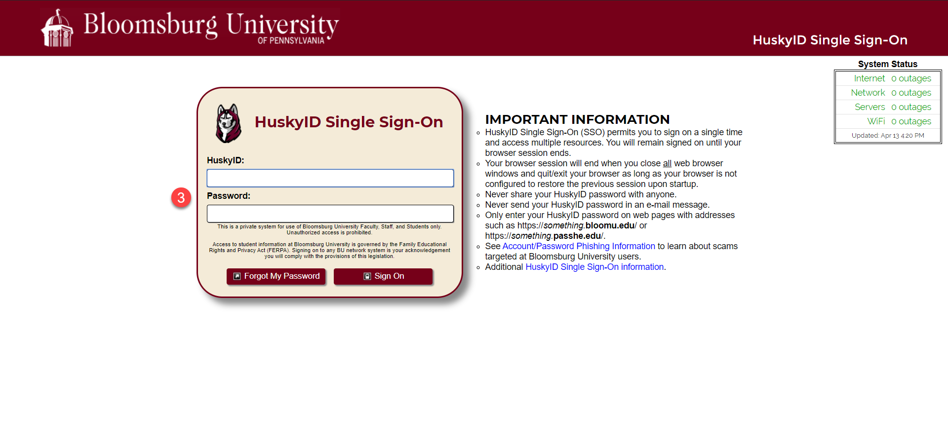 Bloomsburg University single sign-on page