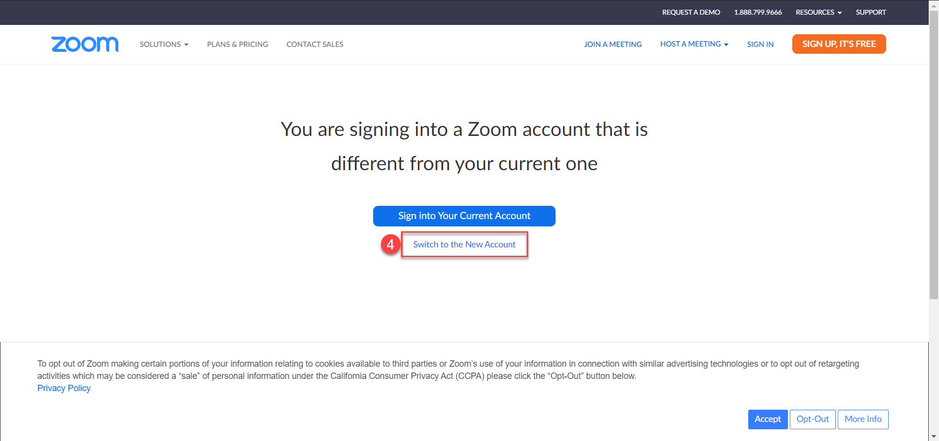 Signing in to a different Zoom account message with option to Switch to the New Account.