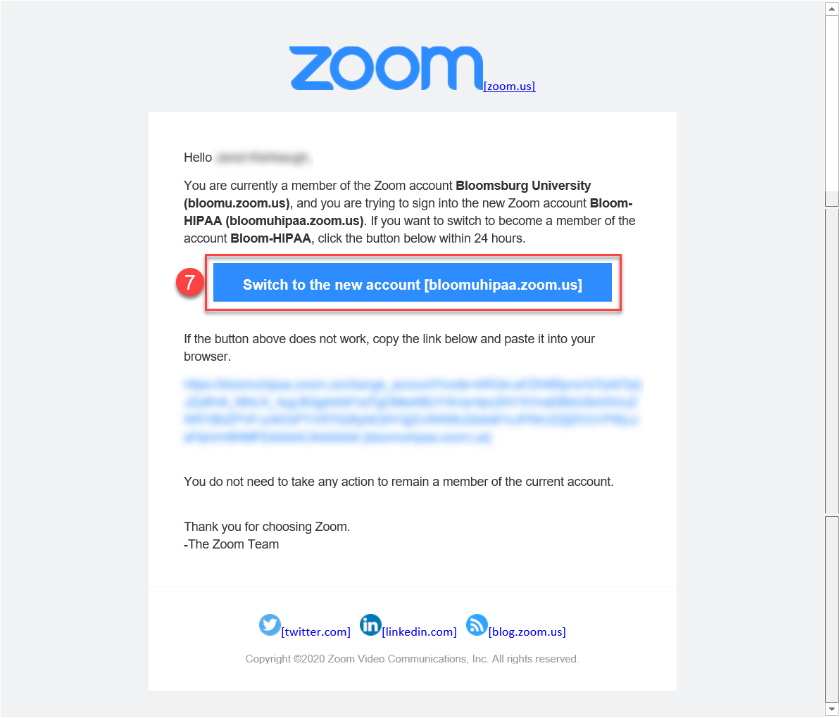 Zoom switch account email with option to switch to the new account highlighted.