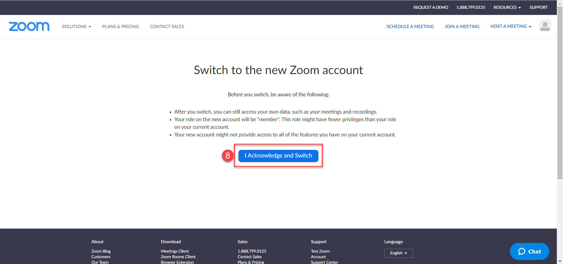 Acknowledgement screen when switching to the new Zoom account.