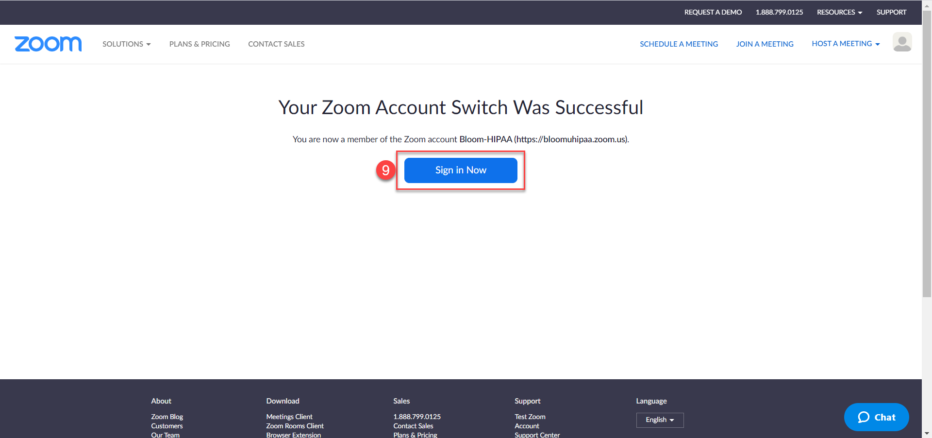 Successful Zoom account switch page with option to sign-in now.