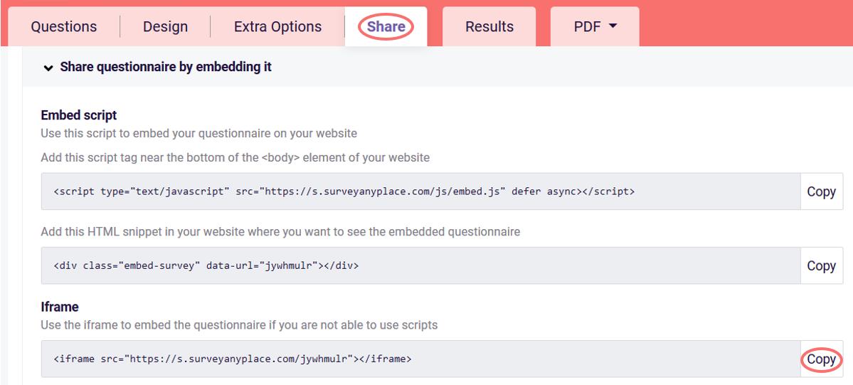 Embed survey iframe code