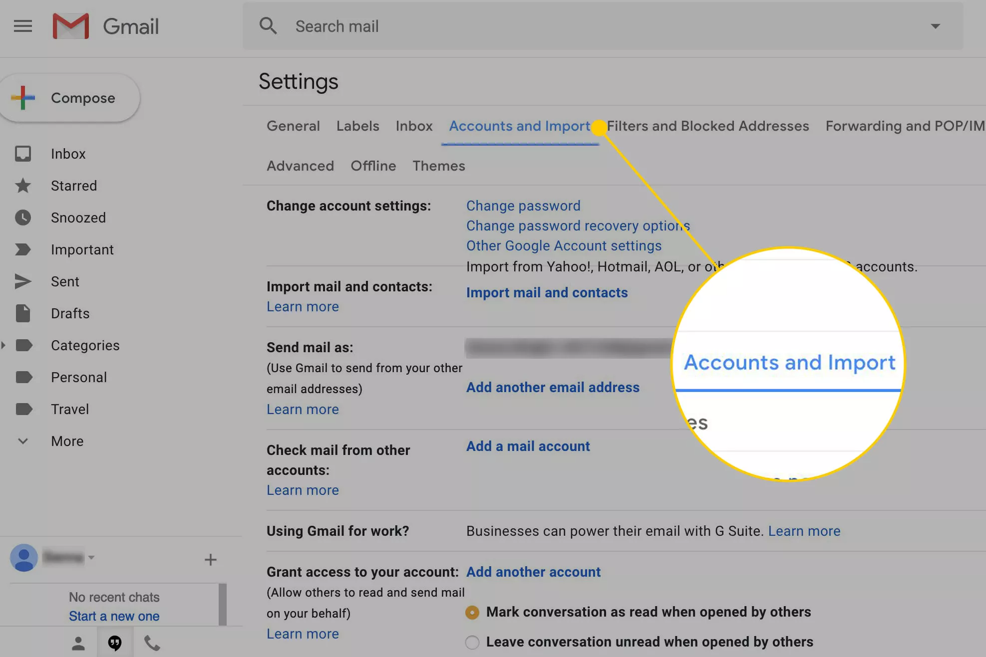 Gmail settings screen with the Accounts and Import menu highlighted