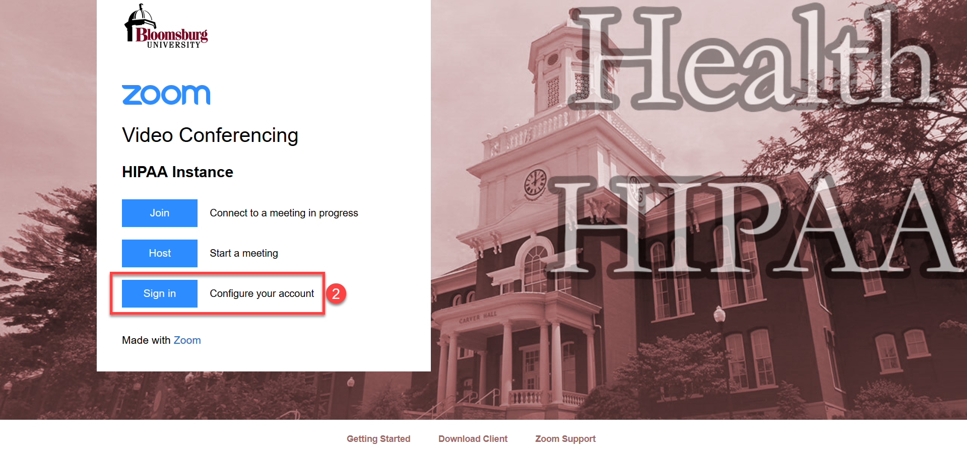 Bloomsburg University Zoom HIPAA Sign in page