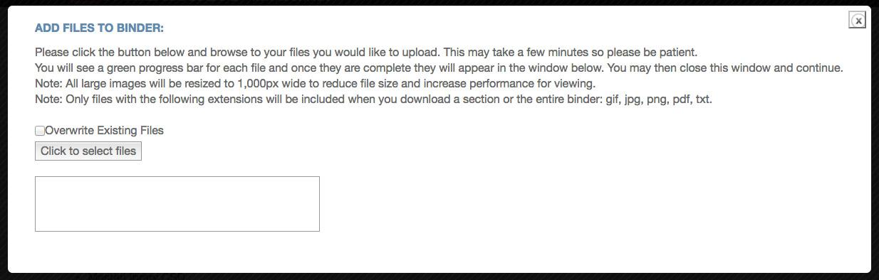 Upload File dialogue screen
