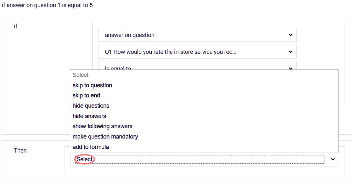 Question logic - THEN options
