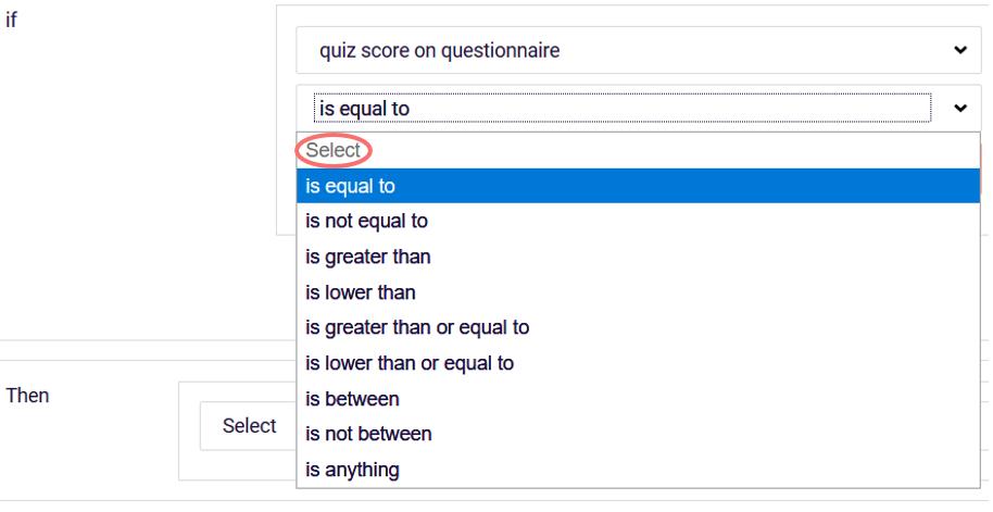question logic - choose quiz score conditions