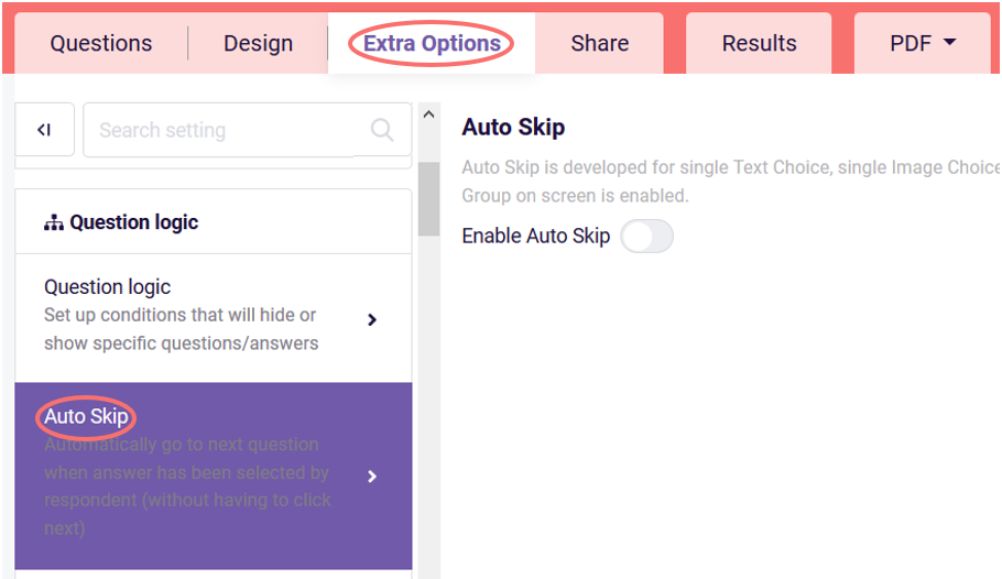 Auto skip option