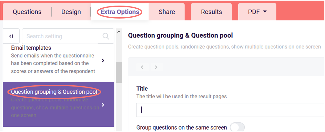 question grouping - extra options tab