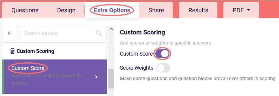 turn on custom scoring