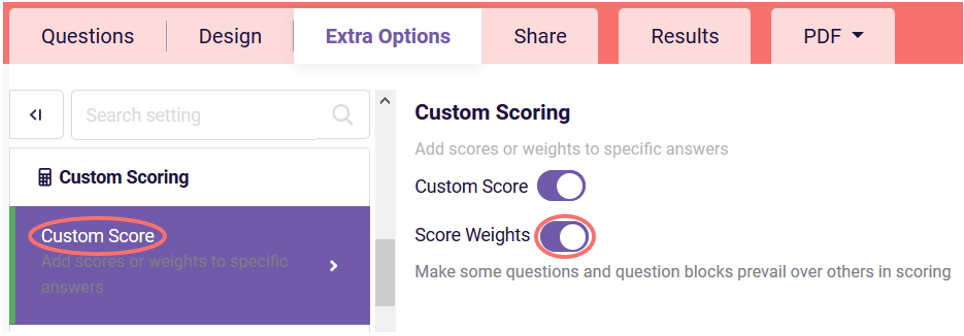 Enable score weights