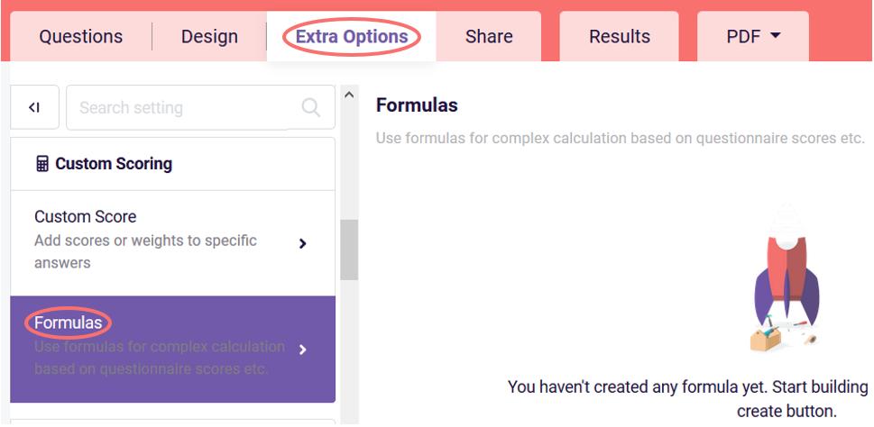 Formulas extra options tab