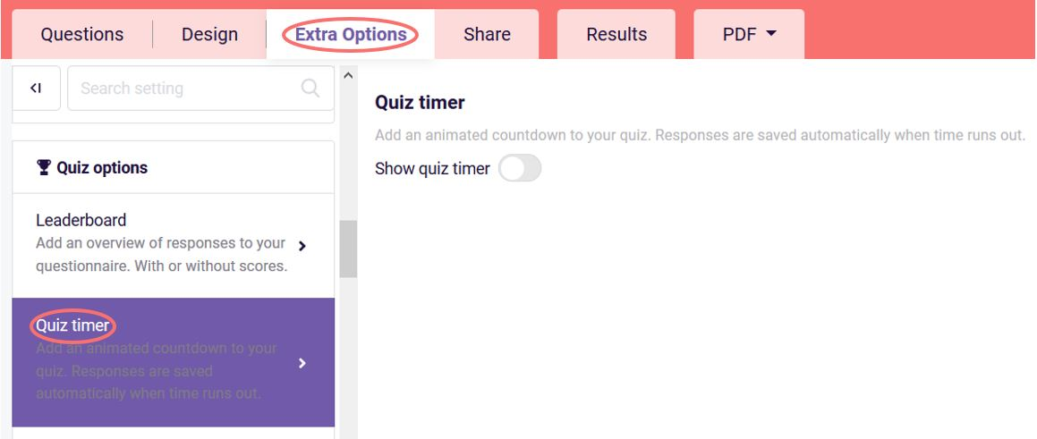 Quiz timer option