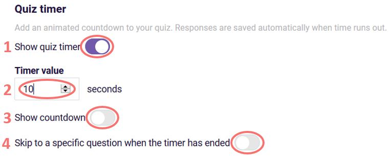 quiz timer settings