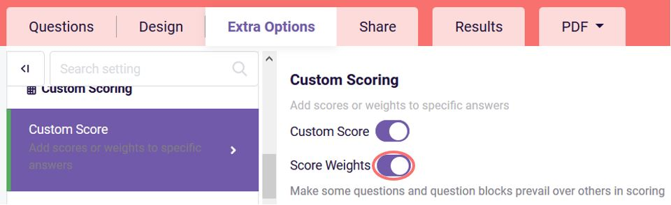 Custom score - score weight option